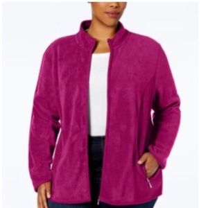 Karen Scott Womens Plus Fleece Jacket